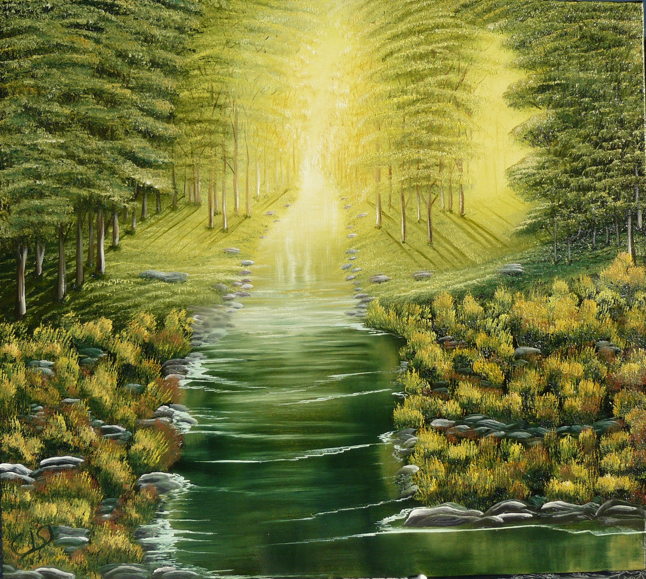 """Tranquil Wooded stream"". 2011. 40X50 cm."