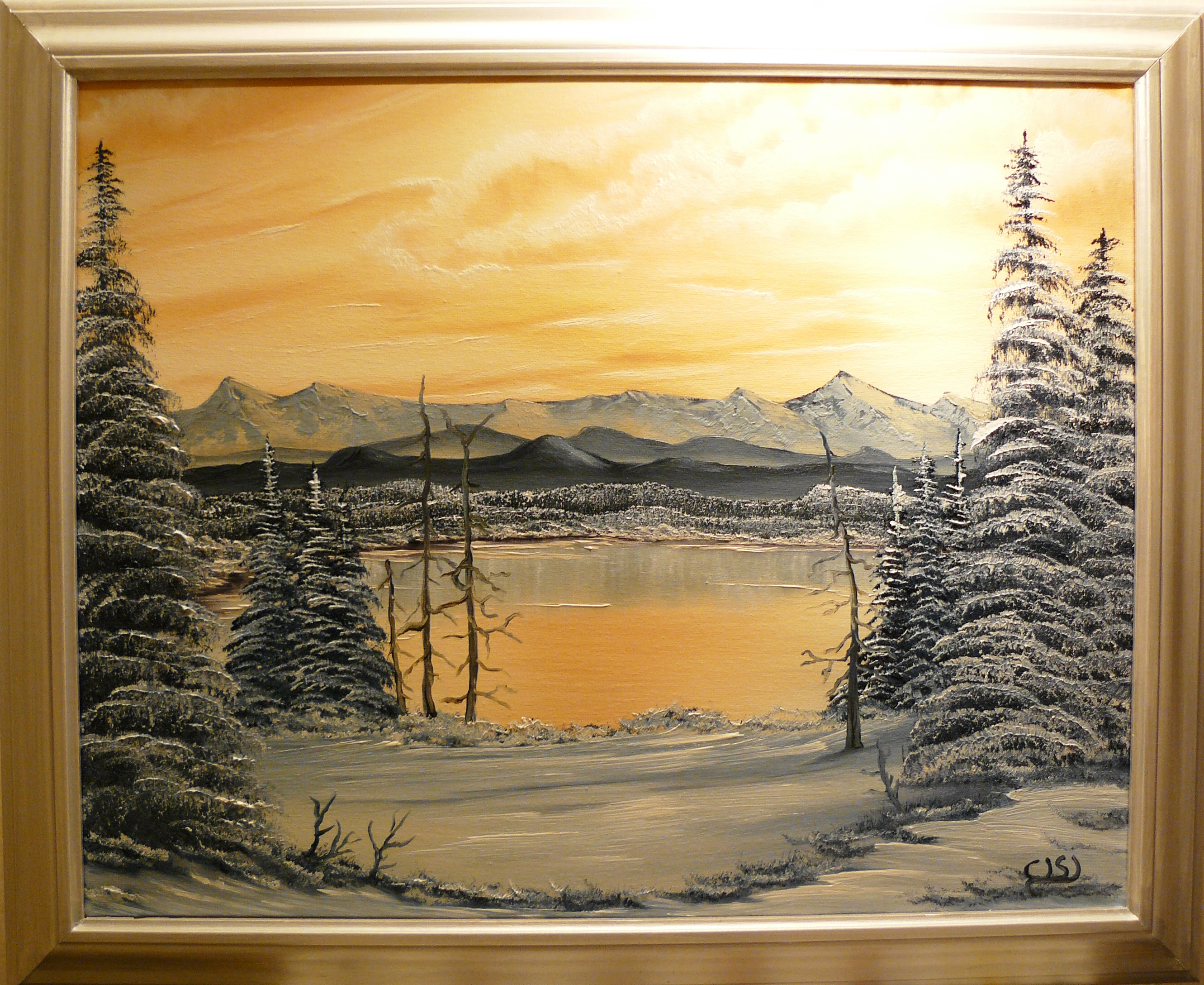 """Silver snow by the lake"". 2011. 50X40 cm."