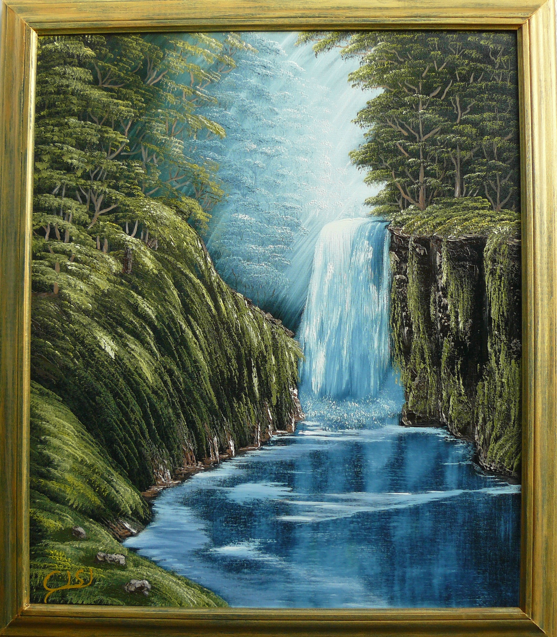 """Deep forest waterfall"". 2011. 40X50 cm."