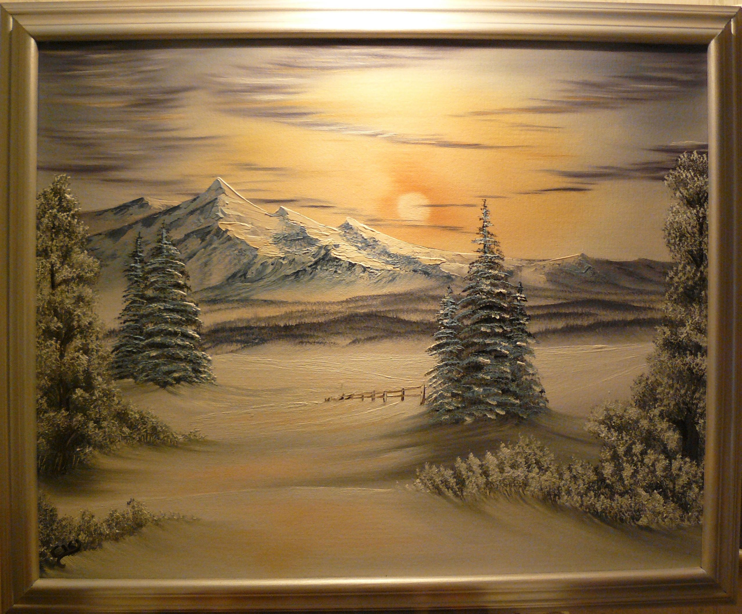 """Winter sun over the mountains"". 2012. Olja på duk, 40x50 cm."