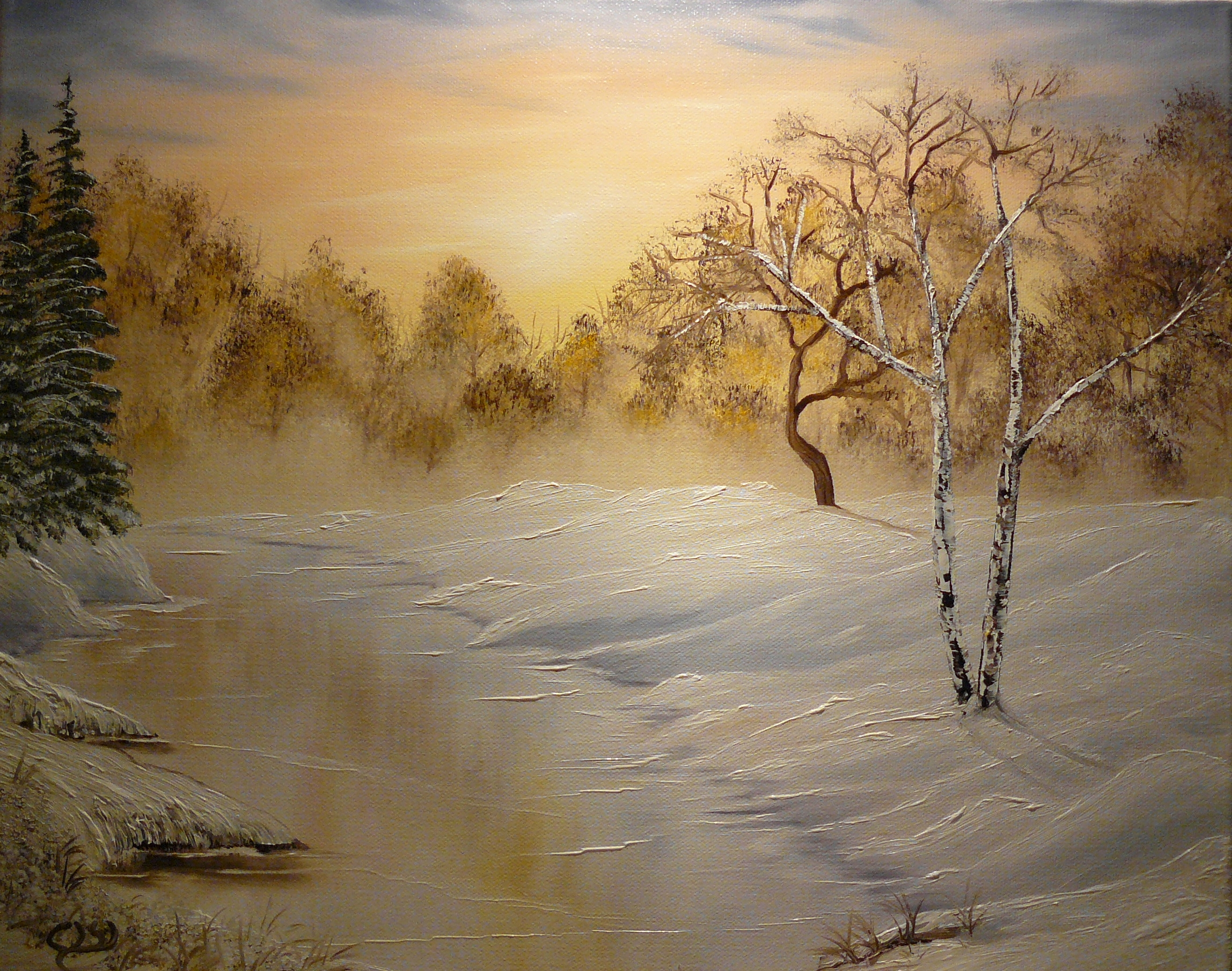 """Winter stillness"". 2012. Olja, 40X50 cm."