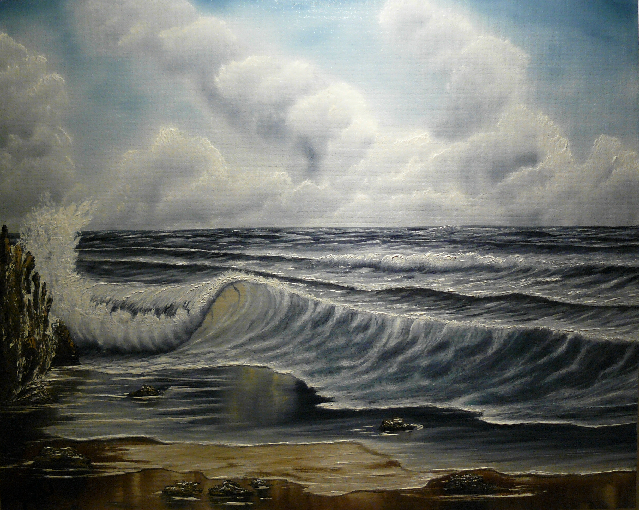 """Big ocean wave"". 2012. Olja, 40x50 cm."