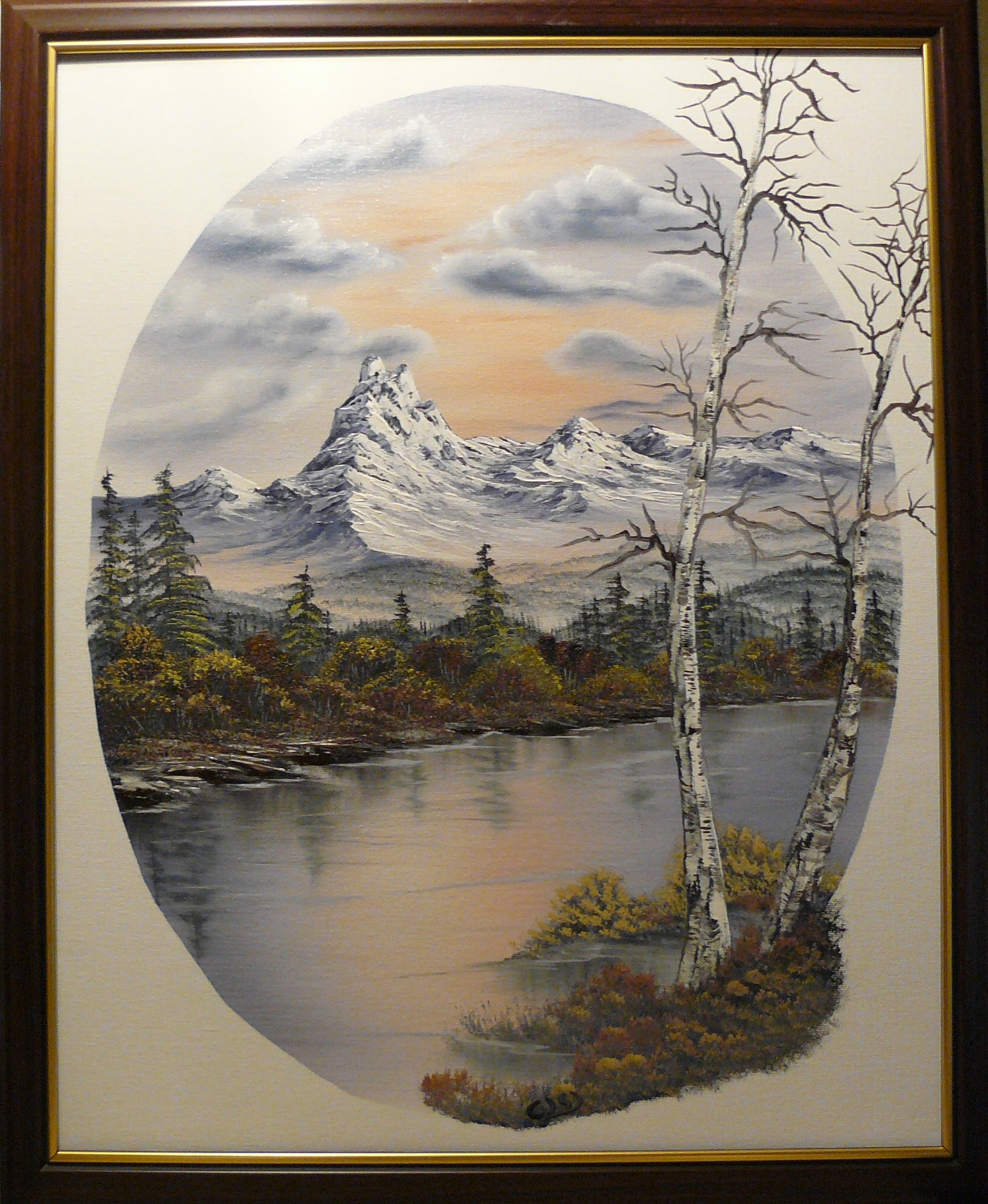 """Mountain in an oval"". 2012. Olja, 40X50 cm."