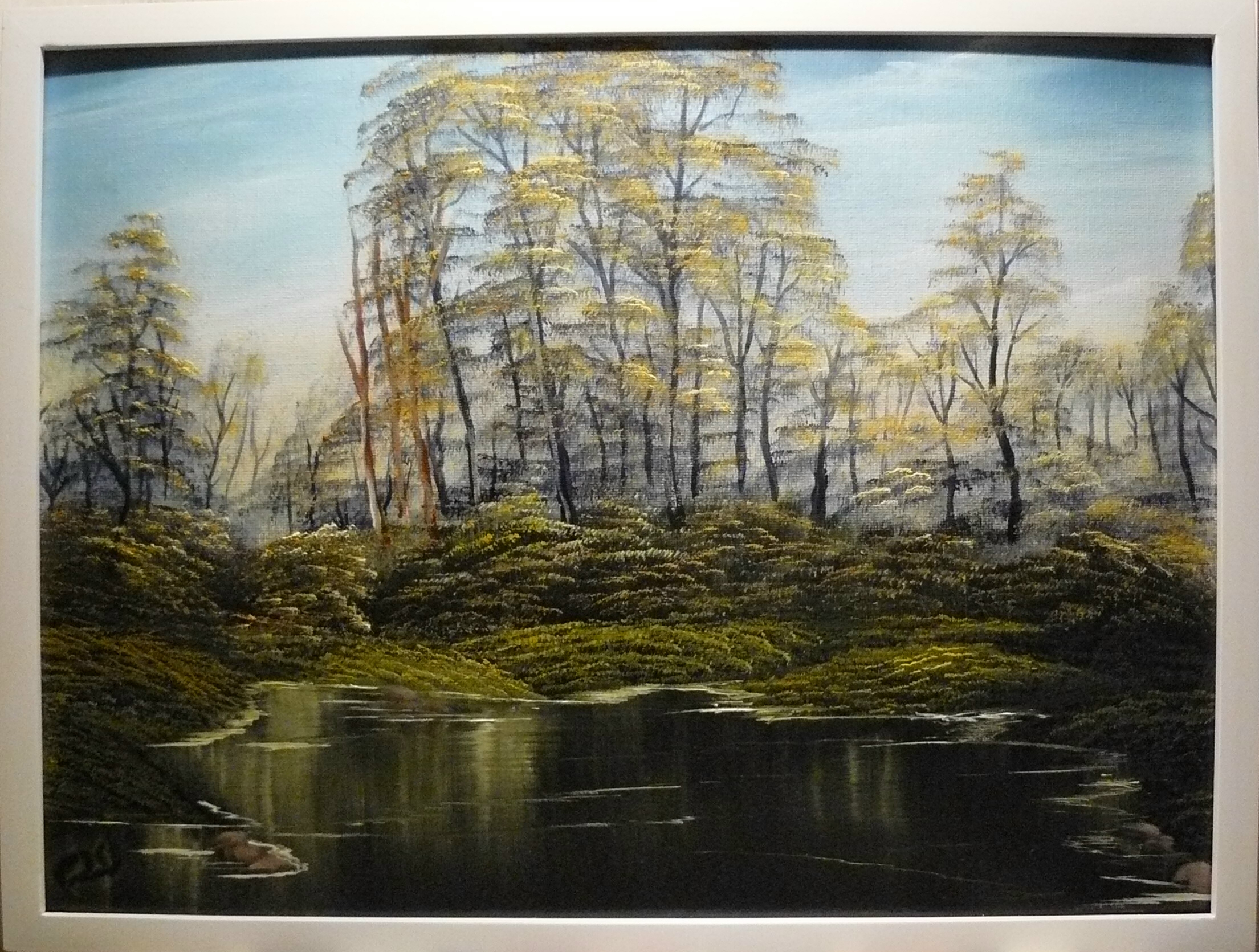 """A small forest pond in the spring"". 2013. 40X50 cm."