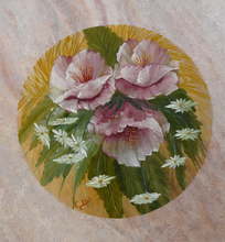 Three fantasy flowers.  Olja, 30X30 cm.